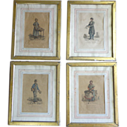 SOLD Set of 4 19th Century French Engraving Drawn By Carle Vernet