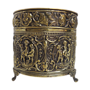SOLD 19th Century French Antique Hammered Brass Planter