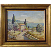 SALE French Vintage Oil On Canvas Provencal Mas