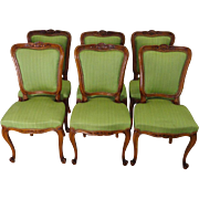 SALE Set of 6 Antique French Louis XV Style Walnut Dining Chairs