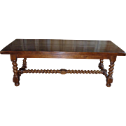 SALE 19th Century Antique French Louis XIII Style Oak Table Barley Twist