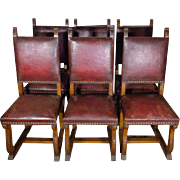 SALE Set of 6 19th Century Antique Spanish Oak Dining Chairs