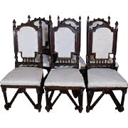 SALE Set of 6 19th Century Antique French Gothic Style Walnut Dining Chairs