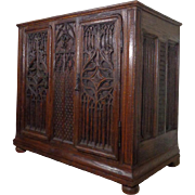 SALE 19th Century Antique French Gothic Style Oak Cabinet