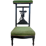 SALE 19th Century Antique French Ebony Easter Prayer Chair