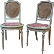 SALE Pair of 19th Century Antique French Louis XVI Style Side Chairs