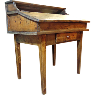 SOLD 19th Century French Antique Pine Pupil Desk