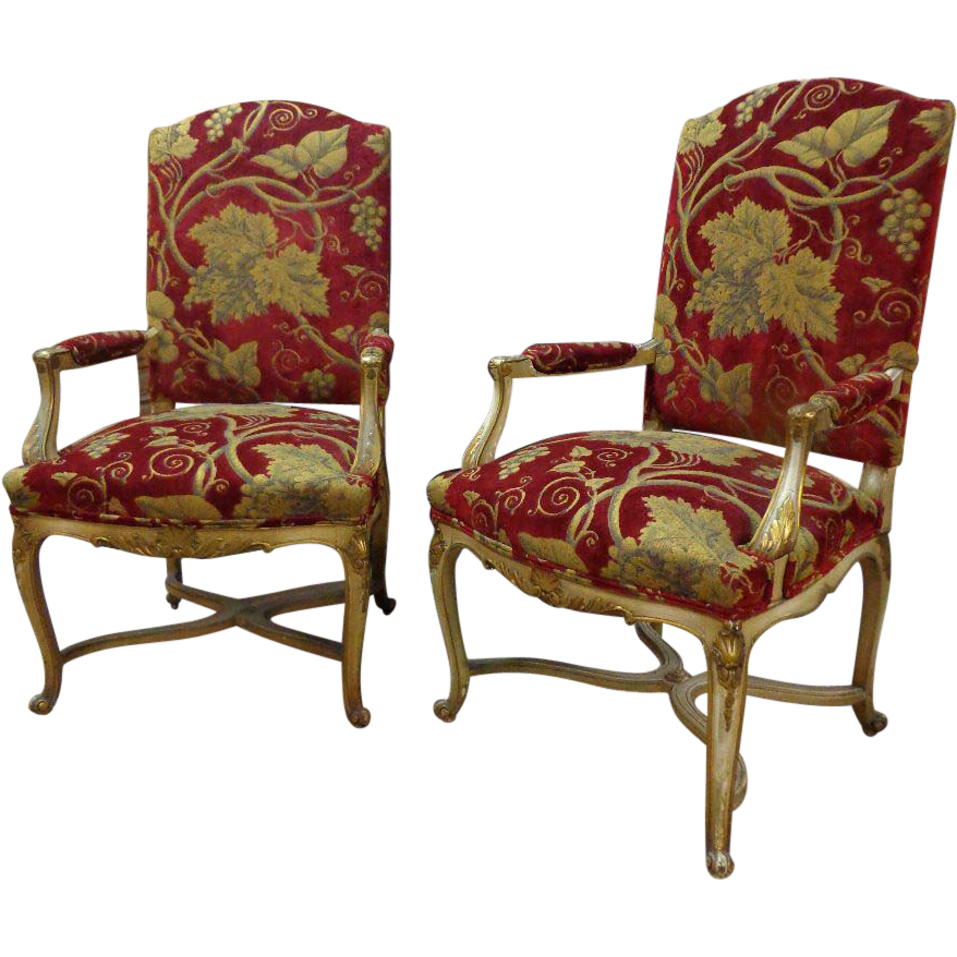 Pair of French Antique Regence Style Armchairs