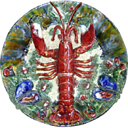 SALE Portuguese Palissy Majolica Wall Plate Lobster