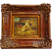 SOLD Antique English Oil On Wood Dogs Painting