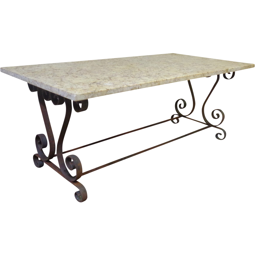French provencal wrought iron coffee table from rubylane for Adorable wrought iron coffee tables