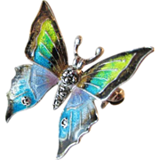 SALE Exquisite Alice Caviness Sterling Silver Enameled Butterfly Brooch Pin Vintage