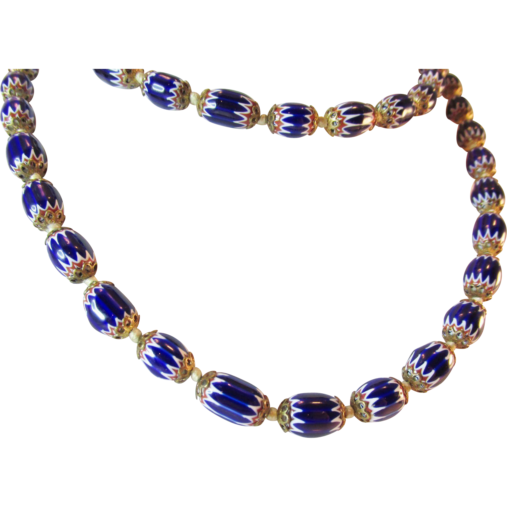 unique vintage blue glass beaded 33 quot necklace from ninas