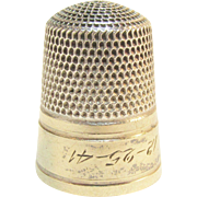 SALE 20% Off Everything!! Simons Brothers 1941 Gold Sterling Thimble Christmas 12-25-41 Vintag