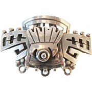 SALE Huge Price Reductions!!  Mexican Sterling Aztec Tribal Design Brooch Pendant Large Vintag