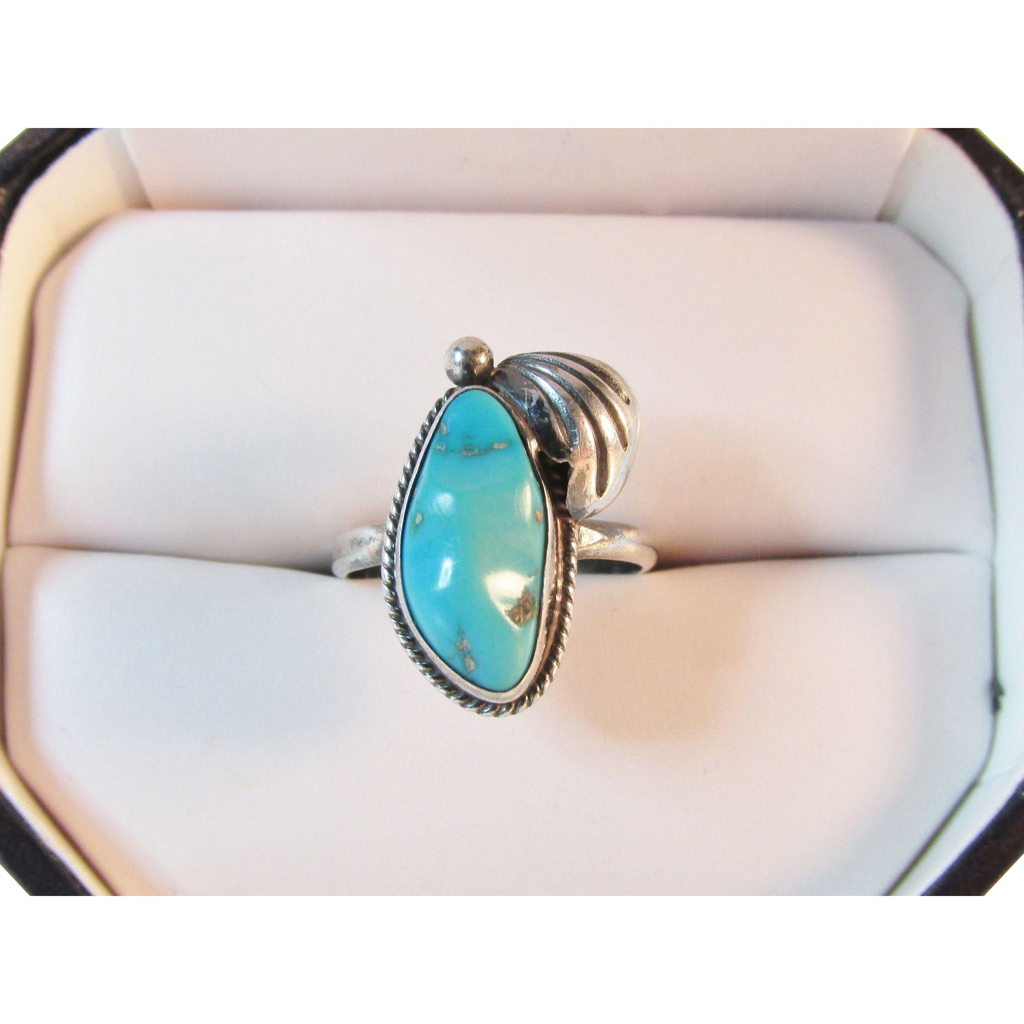 mike chee navajo sterling turquoise ring vintage from