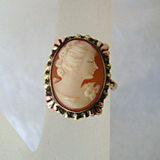 SOLD 10K Rose Yellow & Green Gold Vintage Carved Cameo Ring
