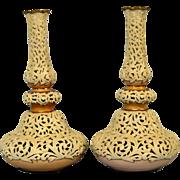 A Pair of Locke & Co Worcester Porcelain Vases.