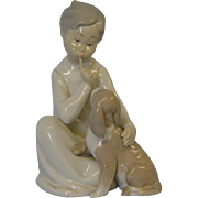 Lladro #4522 Boy With Dog