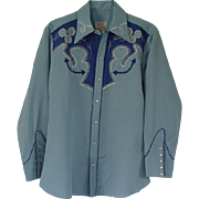 Vintage 1960's Western Embroidered Shirt Pearl Snaps