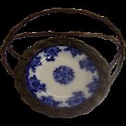 REDUCED Antique Flow Blue Plate Basket