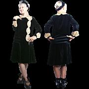 1920s Black Silk Velvet Dress with Lace Appliqué inserts