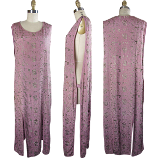 1920s Mauve colored Silk Tabard with All Over Embroidery