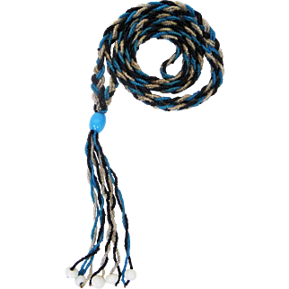 1920s Flapper Sautoir with Turquoise Blue, Black, and Clear Seed Beads