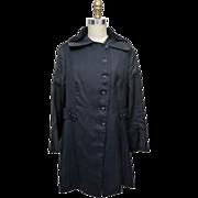 1920s Black Wool Coat With Velvet Collar
