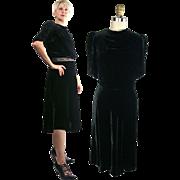 Early 1940s Black Silk Rayon Velvet Dress with Draped Neckline