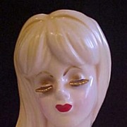 SOLD Lady Head Vase Gold Colored Eyelashes - Red Tag Sale Item