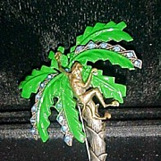 SALE Figural Monkey in Enamel & Rhinestone Palm Tree