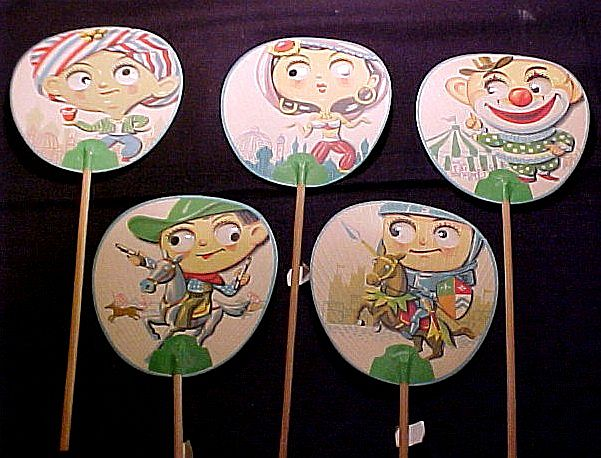 Rare Vintage Bamboo Fans with Googly Eyes Japan