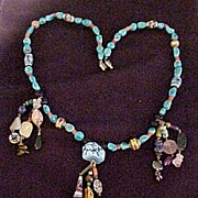 Multi Stone Turquoise Necklace with Scarabs