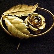 Vintage Jewelry Gold Brooch & Earring Set