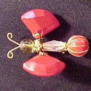 Vintage Red Wired Bug  Pin Trembler