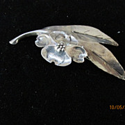 Vintage Sterling Floral Leaf Pin Brooch