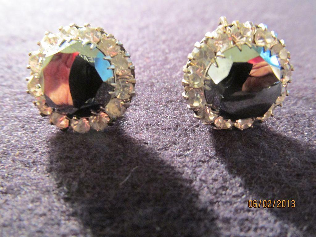 1930's Deco Sterling Hematite Earrings