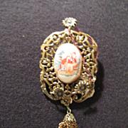 Vintage Portrait Pin Wedding Proposal Ornate Bezel