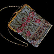 SOLD Multi Color Micro Steel Beaded Vintage Purse France