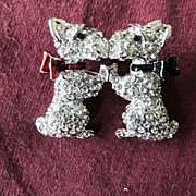 Swarovski Crystal Puppies with Bows Brooch Pin