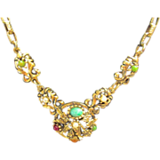 Vintage Ornate Multi Colored Necklace & Chain