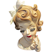 """SOLD S. S. Lady Head Vase Curly Hair Bow Ruebens 6.5"""""""