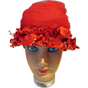 Vintage Ladies Red Hat with Netting and Floral Arrangement