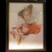 Harrison Fisher Print Framed A Fair Driver AP 130-9