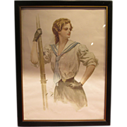 Harrison Fisher Lady AP-130 Print Sailor Collar
