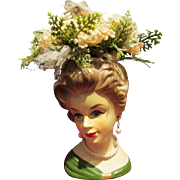 "Vintage Rueben Lady Head Vase 4.75"" with Floral Arrangement"