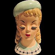 Vintage Fabulous Head Vase with Curls & Hat Long Eyelashes