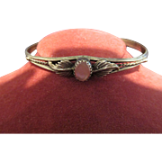 Delicate Sterling Ornate Bracelet with Pink Stone