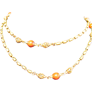 "Fabulous Miriam Haskell Chain with Coral Glass Beads 50"" Long"